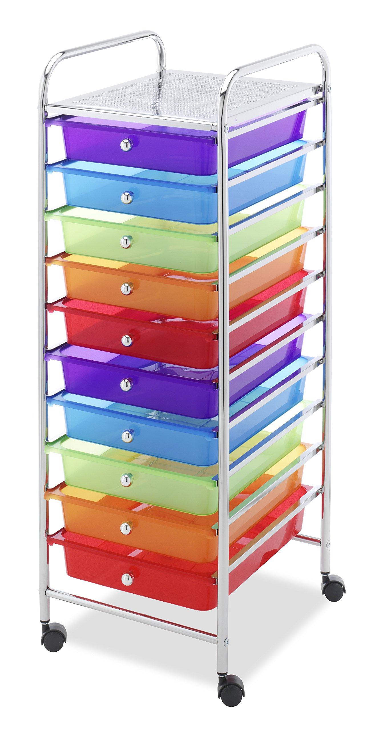 Whitmor 10 Drawer - Rolling Craft Organizer Cart - Chrome by Whitmor