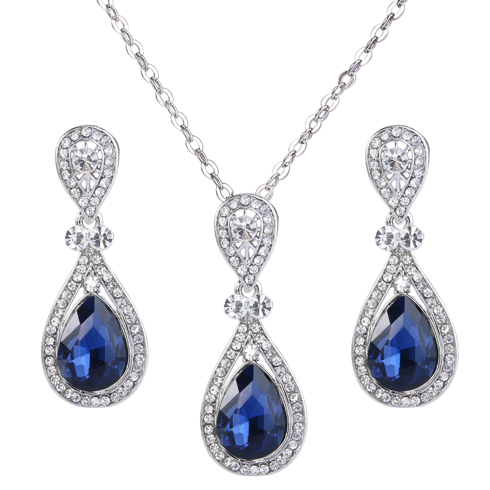 BriLove Women's Wedding Bridal Pendant Necklace Dangle Earrings Jewelry Set with Elegant Crystal Teardrop Sapphire Color Silver-Tone