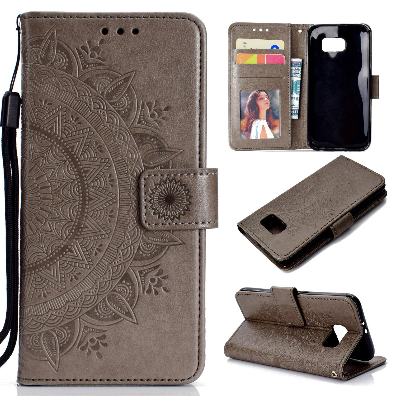 0a626ceb749848 Misteem Etui Galaxy S6 Edge Fleur de Mandala Coque, Cr é atif Floral Cover  Folio Portefeuille Cuir PU Magn é tique Stand Housse pour Samsung ...