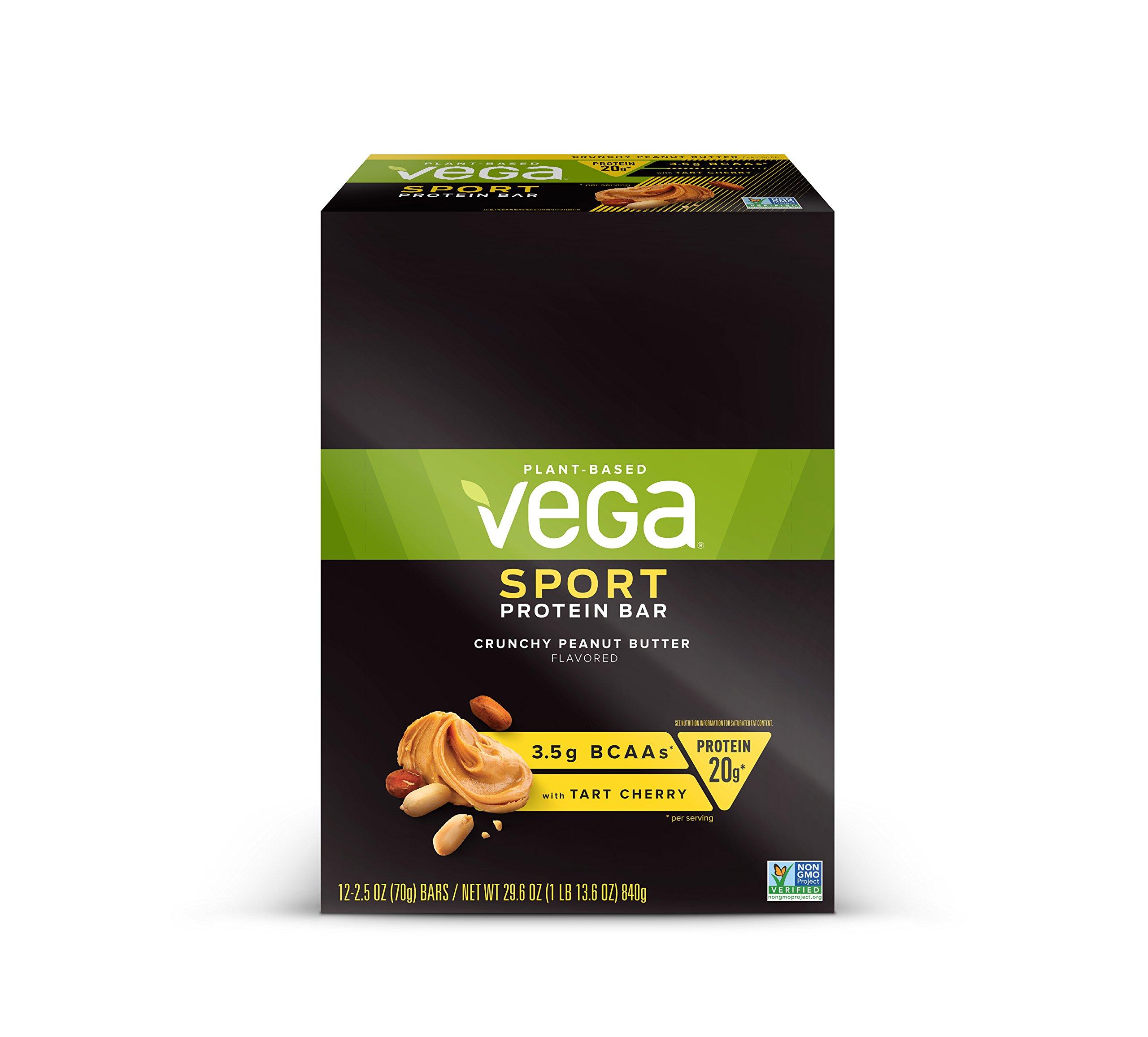 Vega Sport Protein Bar Crunchy Peanut Butter (12 Count) - Plant Based Vegan Protein Bars, Non Dairy, Gluten Free, Non GMO by Vega