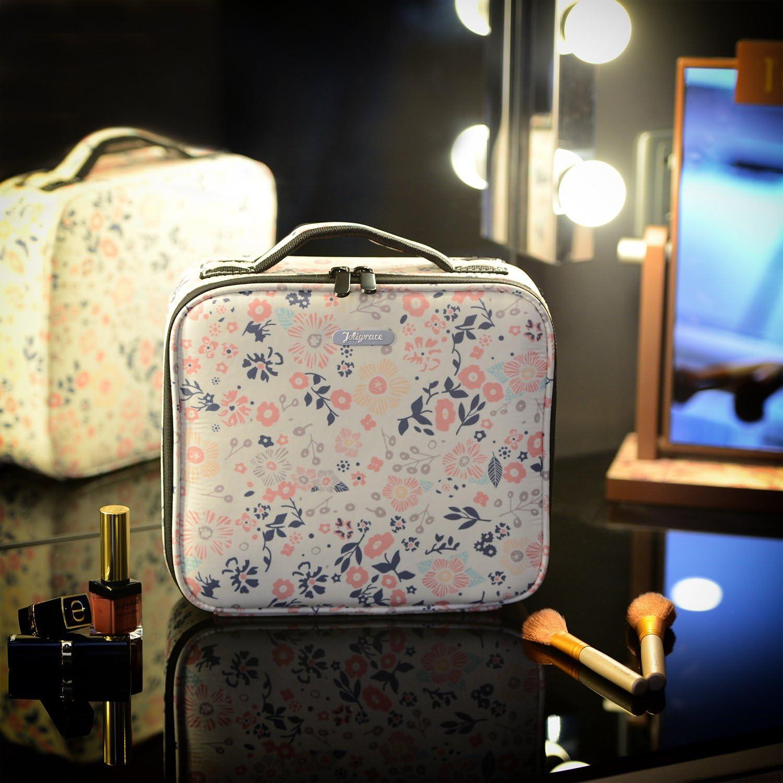 Fleur Beige, Petite Taille Joligrace Grand Oxford Tissu Professionnel Trousse De Maquillage avec Sangle Arri/ère Amovible Cosm/étique Cas Beauty Box Outils De Coiffure