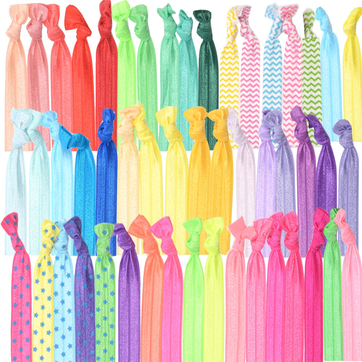 GirlZone: Colorful No Crease Hair Ties Accessories for Girls, Pack of 50, Great Party Bag Stuffer by GirlZone