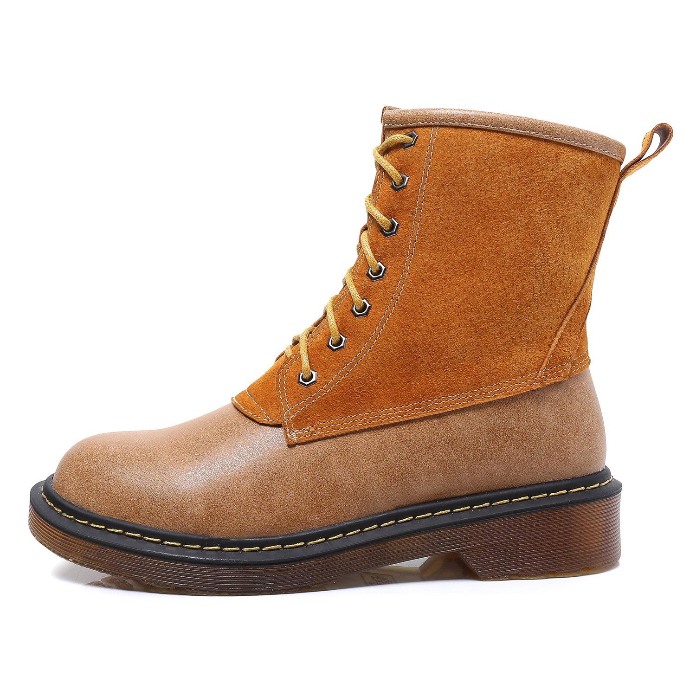 Smilun Mädchen Kurzschaft Stiefel Damen Militärstiefel Kampfstiefel Winterstiefel Damen Winter Stiefel Grau Herstellergröße 36, EU36