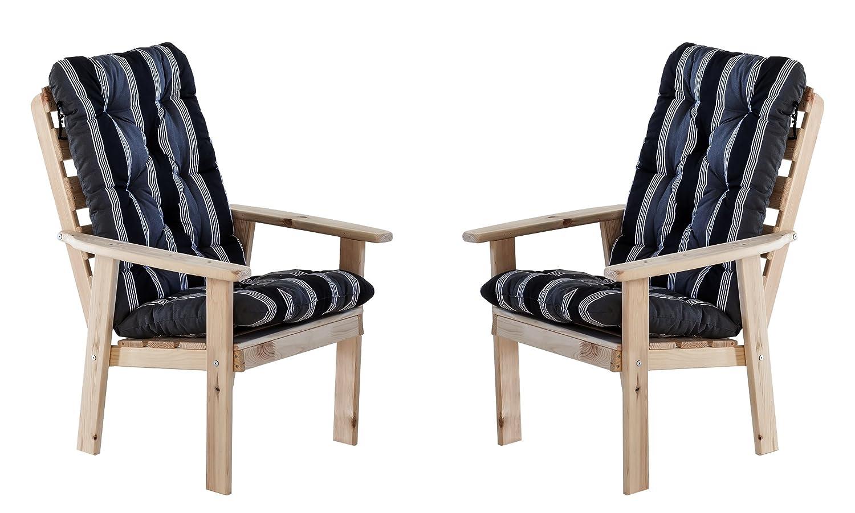 Ambientehome 90324 Gartensessel Gartenstuhl Loungesessel 2-er Set Massivholz Hanko Maxi, natur mit Kissen, schwarz / grau