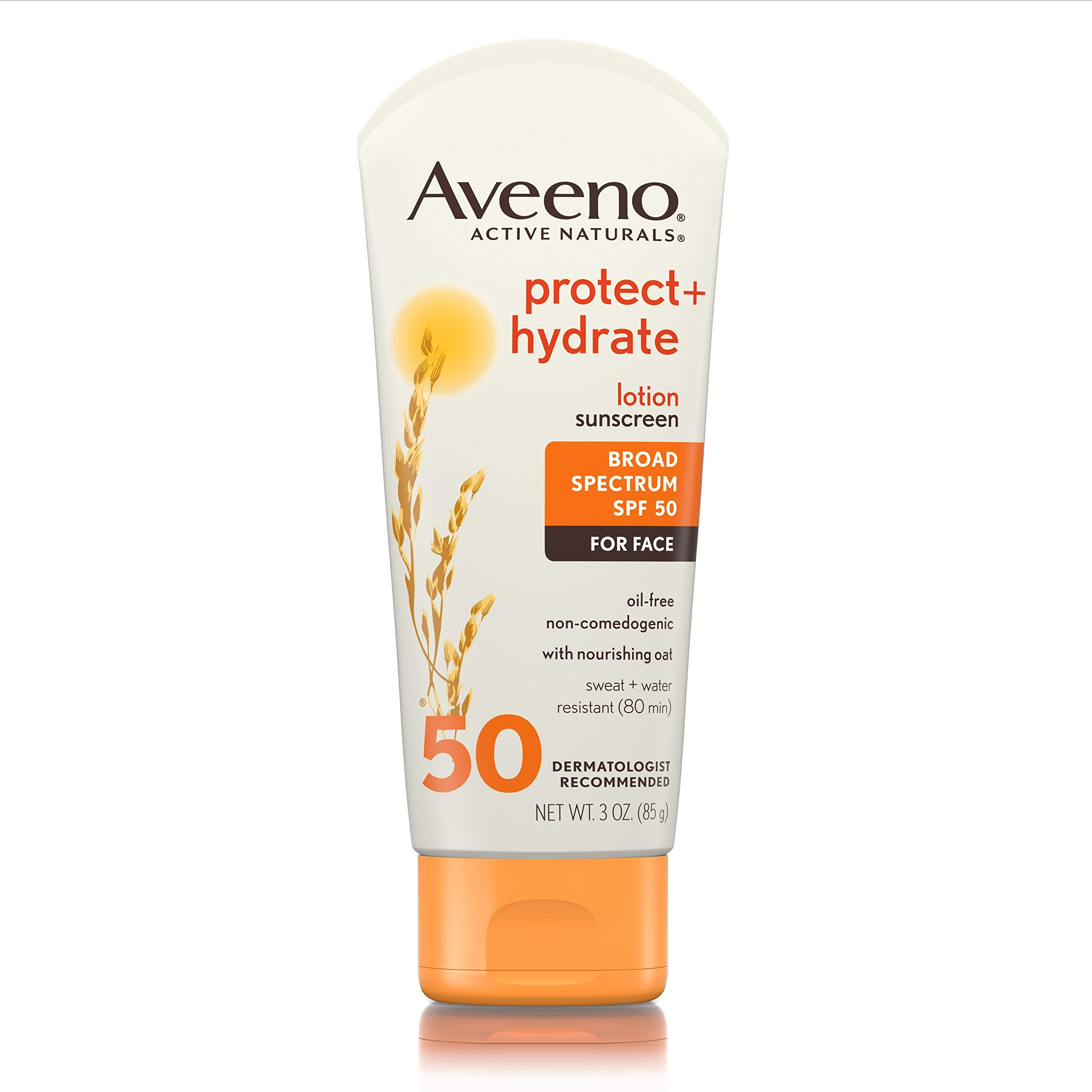 Aveeno Protect + Hydrate Face Sunscreen with Active Naturals Oat, Broad Spectrum SPF 50, Sweat and Water Resistant Sun Protection, 3 oz
