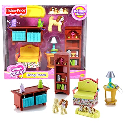 Fisher Price Year 2006 Loving Family Dollhouse Deluxe Decor Furniture  Accessory Set   LIVING ROOM (
