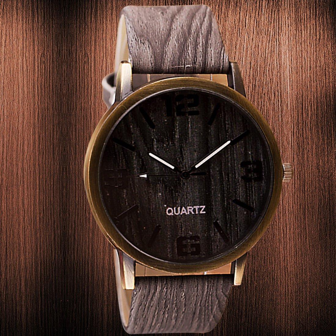 Amazon.com: 2016 Classical Wooden Watch Women Wristwatches Vintage Style Men Dress Watch Pu Leather Quartz Watch 2#: Watches