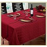 "Burgundy / Wine Tablecloth 60""x90"" Modern Luxury Jacquard Hampton"