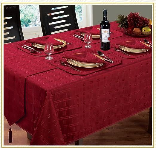 Burgundy / Wine Table Runner Luxury Jacquard Hampton Design: Amazon.co.uk:  Kitchen U0026 Home