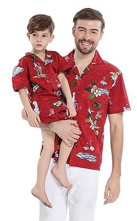 9c3bbef0 Matching Father Son Hawaiian Luau Outfit Christmas Men Shirt Boy Shirt Only  Red Santa Flamingo S
