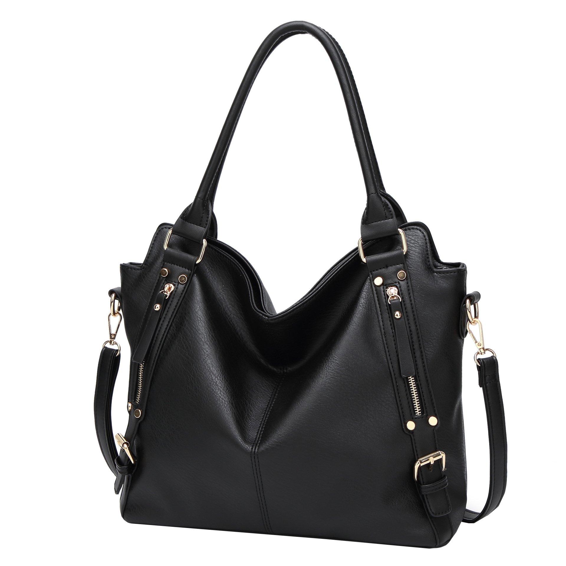 Obosoyo Women Shoulder Tote Satchel Bag Lady Messenger Purse Top Handle Hobo Handbags Black
