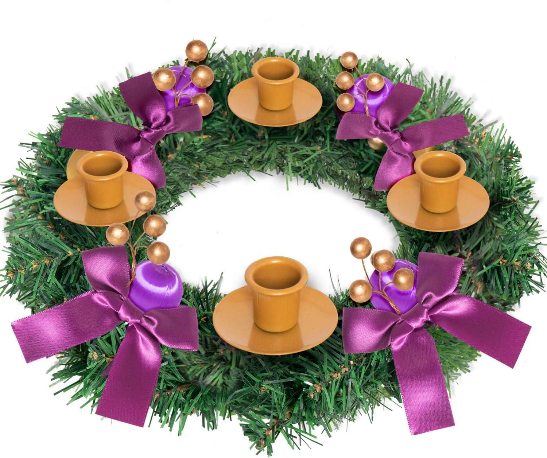 Rocinha Advent Wreath, Purple Ribbon Advent Candle Holder Christmas Advent Centerpiece Decor for Home Church