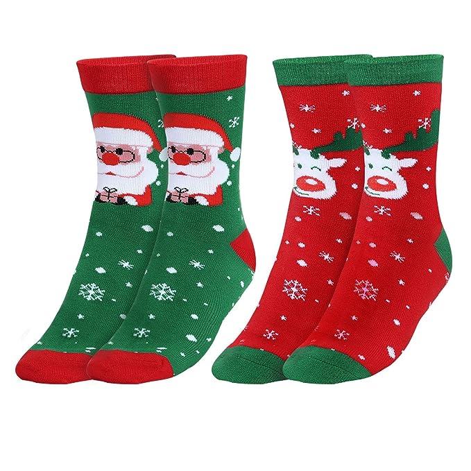 Andake Calcetín de Navidad Medias(2 pares) Calcetines Navideños COOLMAX Regalos Medias de Ocio para Hombre y Mujer: Amazon.es: Ropa y accesorios