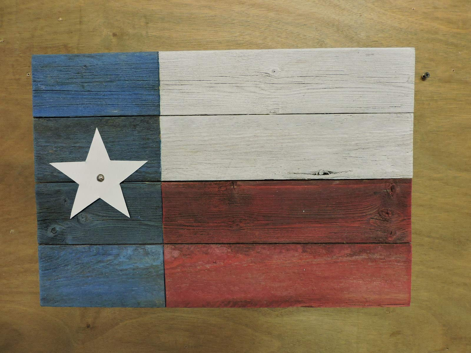 Texas Flag (#7S) made from recycled Fence Boards; Rustic Decor Texas Flag; Weather-look/Distressed Paint