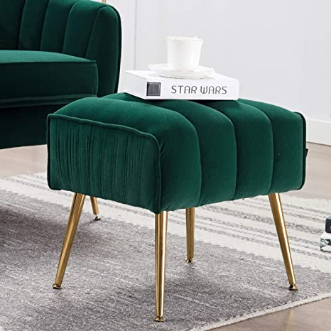 Awe Inspiring Altrobene Tufted Velvet Ottoman Foot Stool With Gold Legs For Living Room Bedroom Green Pdpeps Interior Chair Design Pdpepsorg
