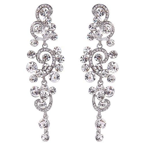 f733b2261 BriLove Wedding Bridal Statement Earrings for Women Bohemian Boho Crystal  Floral Hollow Chandelier Dangle Earrings Clear