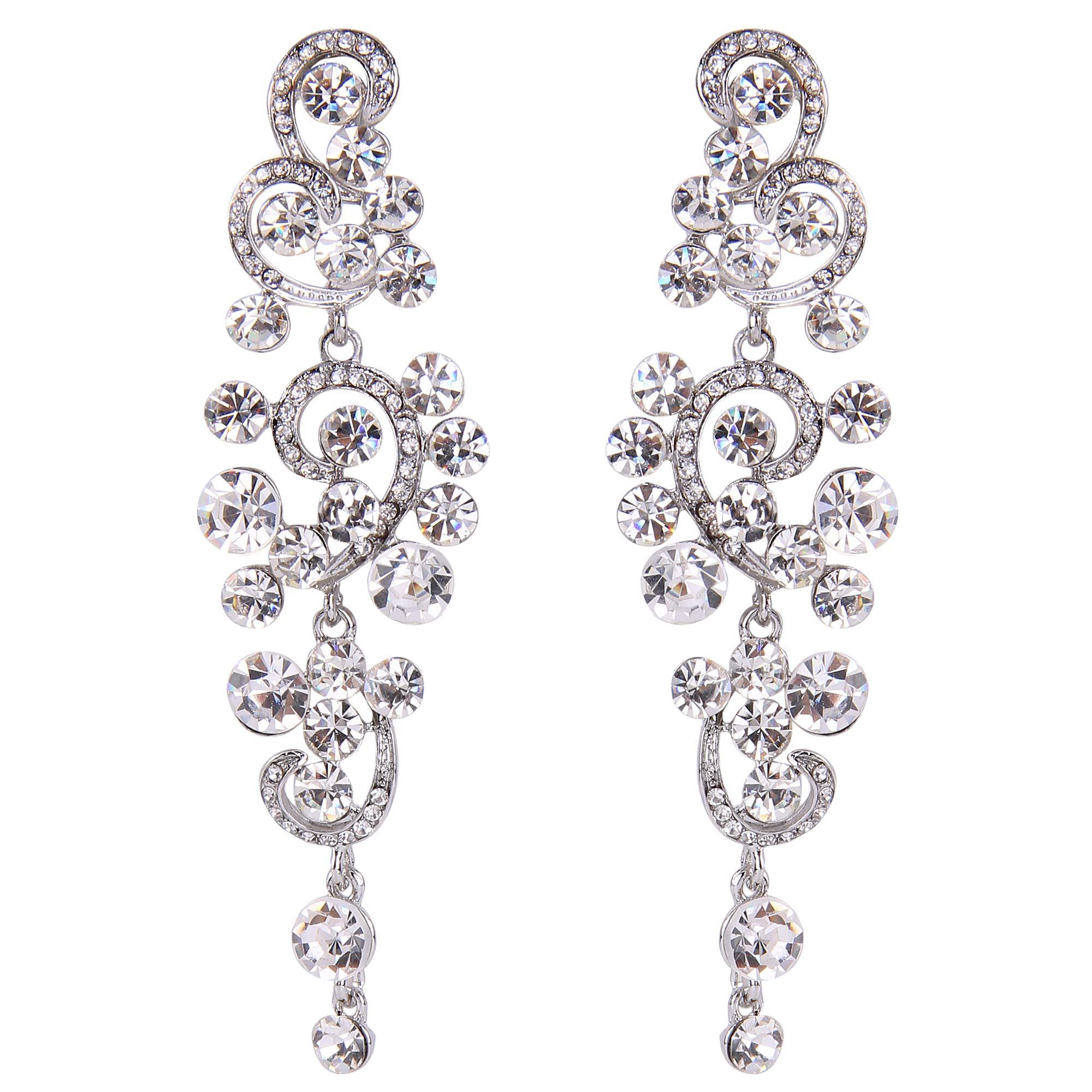 BriLove Silver-Tone Dangle Earrings for Women Wedding Bridal Bohemian Boho Crystal Floral Chandelier Hollow Earrings Clear