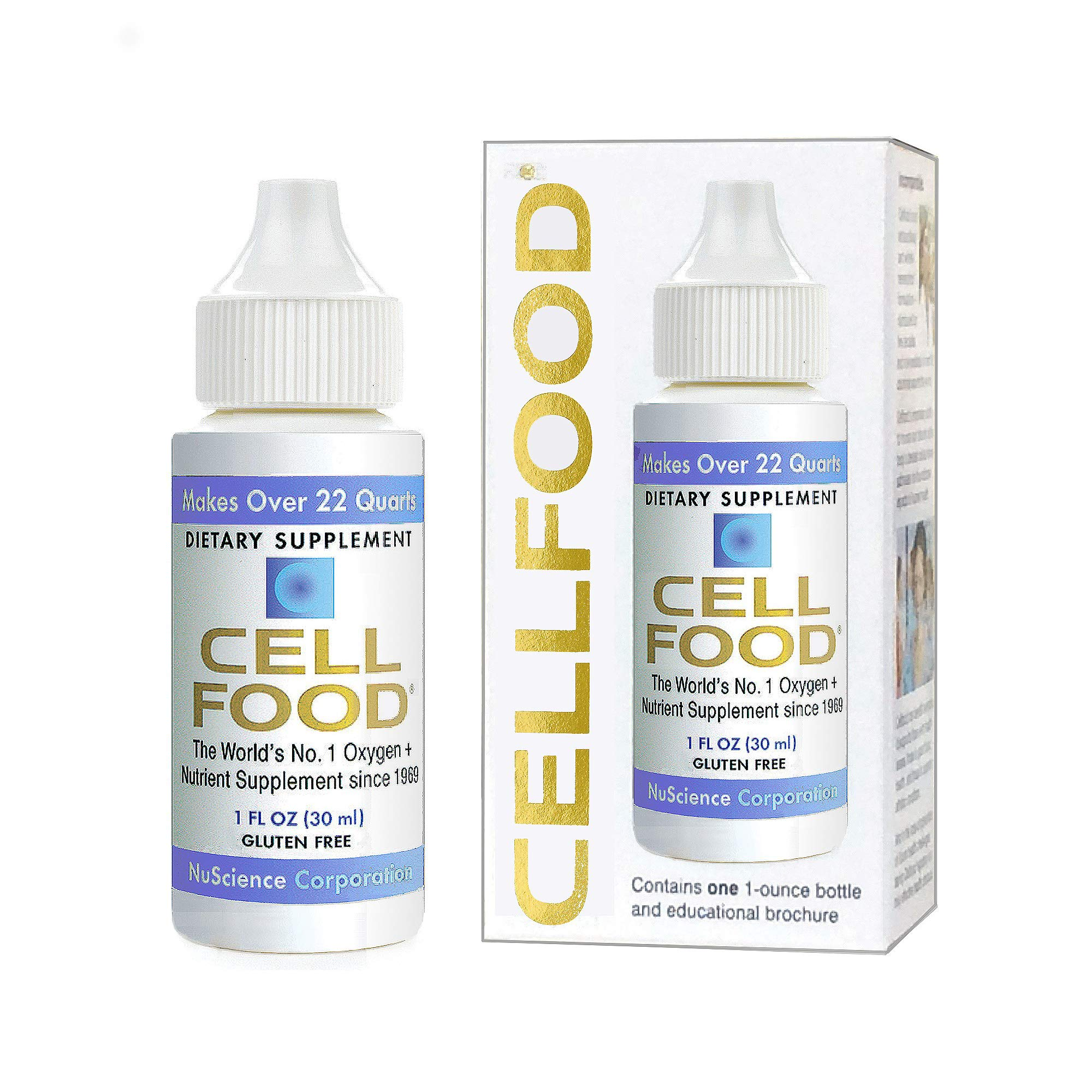 Cellfood Liquid Concentrate, 1 oz. Bottle - Original Oxygenating Formula Containing Seaweed Sourced Minerals, Enzymes, Amino Acids, Electrolytes, Superior Absorption - Gluten Free, GMO Free by Cellfood