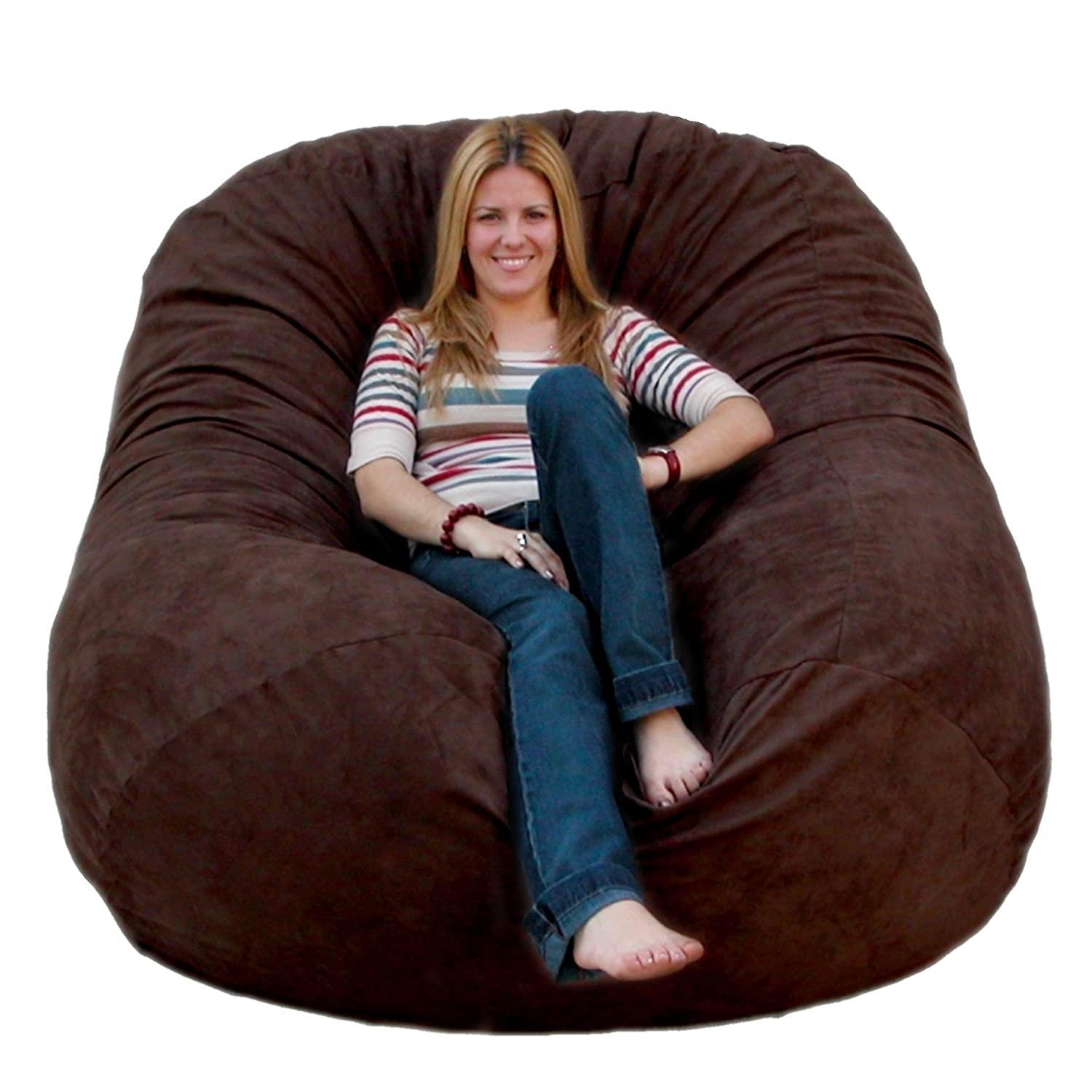 Amazon.com: Cozy Sack 6 Feet Bean Bag Chair, Large, Chocolate: Kitchen U0026  Dining