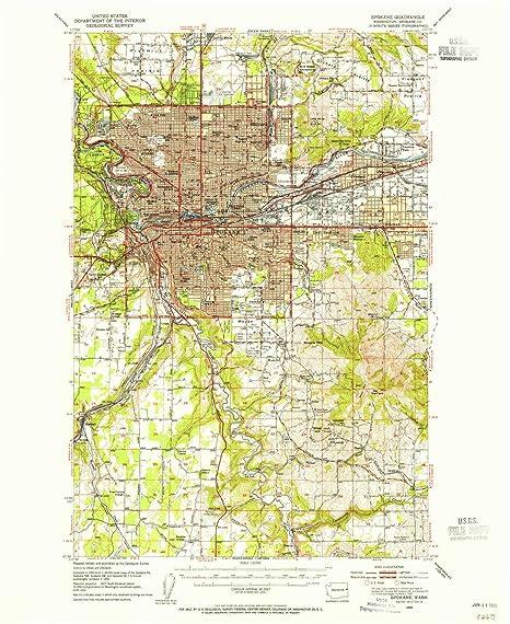 Spokane Elevation Map.Amazon Com Yellowmaps Spokane Wa Topo Map 1 62500 Scale 15 X 15