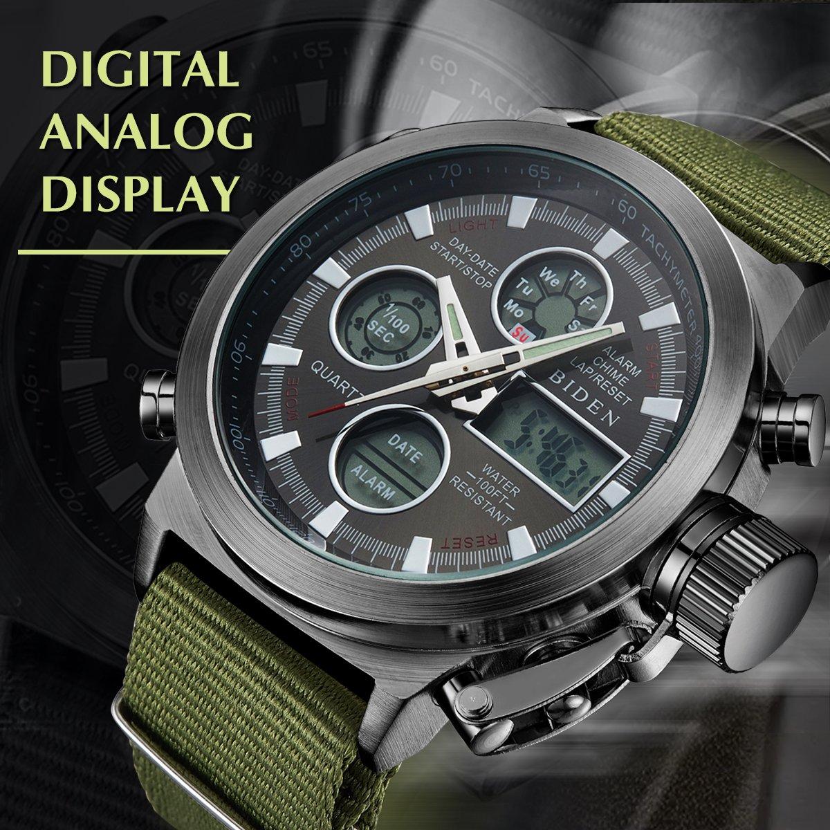 BIDEN Watch, Watch Men Digital Analog Sport Waterproof Watch,Multifunction LED Date Alarm Leather Wrist Watch (GreenBlack) by BIDEN (Image #3)