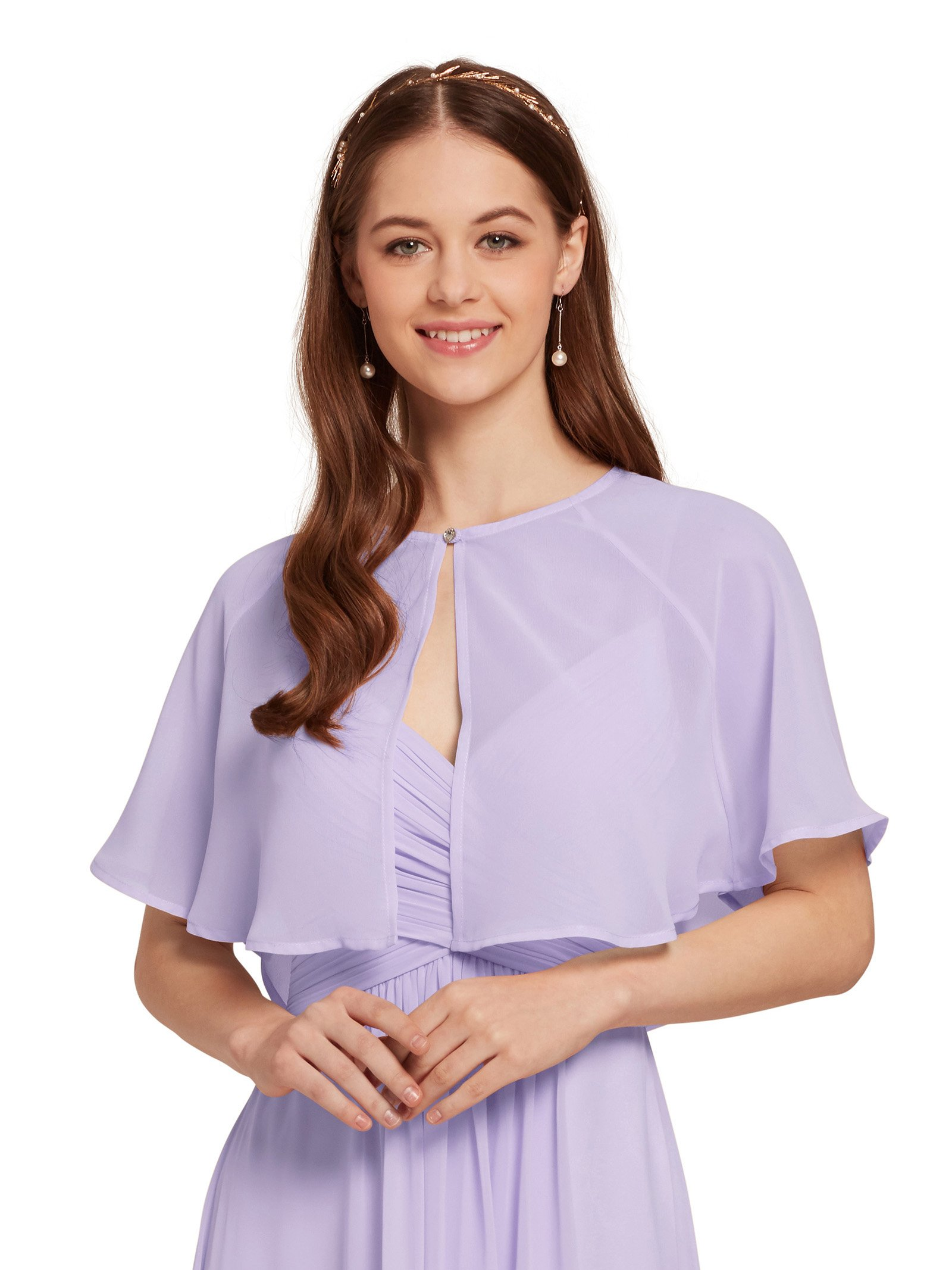 AW Women's Chiffon Cardigan Shrug Cover up Wedding Cape Wrap Shawl Bolero Jacket for Bride, Purple, L