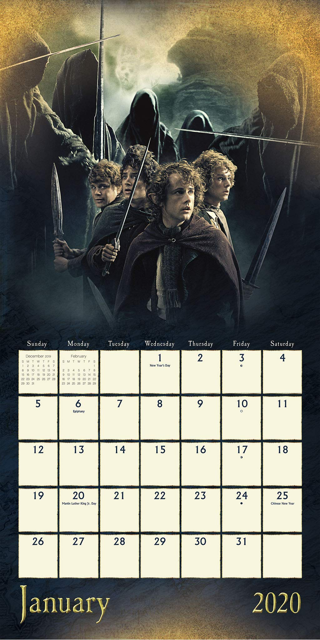Amazon Com The Lord Of The Rings 2020 Wall Calendar 0057668206428 Trends International Books