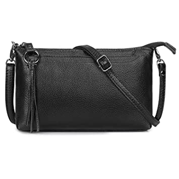 79d9df0b5586 S-Zone Small Genuine Leather Crossbody Bag for Women Zipper Clutch Purse  Shoulder Bag  Amazon.co.uk  Luggage