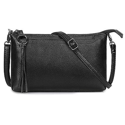 Amazon.com  S-ZONE Small Genuine Leather Shoulder Bag Designer Crossbody  Bag Simple Clutch Purse (Black)  Clothing 51cf5bce37