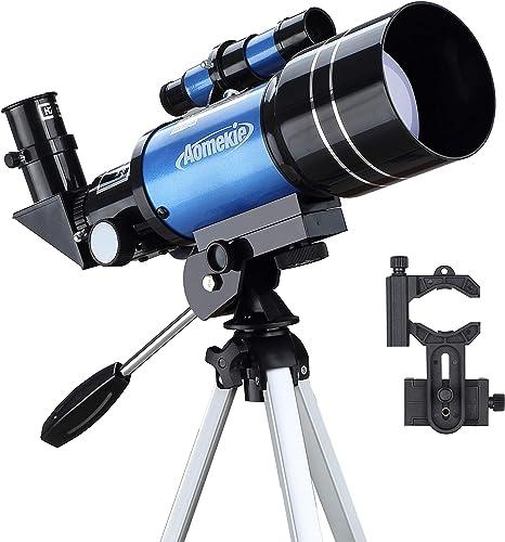 Aomekie Astronomisches Telescopio para niños Principiantes 70/300 Telescope Astronomy con Smartphone Adaptador de Aluminio trípode Barlow y Umkehrlinse para observar el Cielo: Amazon.es: Electrónica