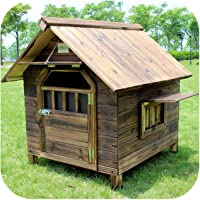 Outdoor Carbonized Anticorrosion And Rainproof Solid Wood Dog House Outdoor With Door And Window Rain Cover Kennel Cat House Mat Pet Villa-2 door with window+shutter+rain cover+ pad+mat-S- for cats or dogs less than 45 cm in length