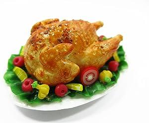 Dollhouse Miniatures Christmas Food Roast Turkey Vegetable Holiday Dinner 13959
