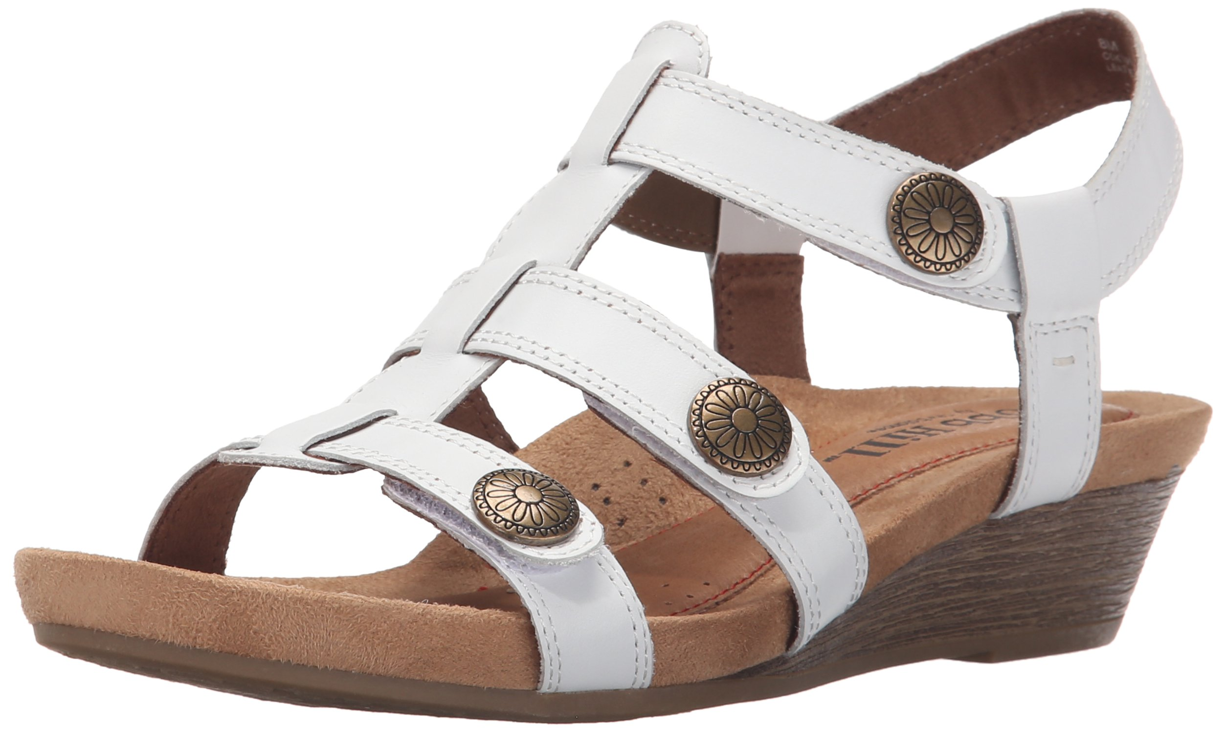 Cobb Hill Rockport Women's Harper-CH Wedge Sandal, White, 8.5 W US