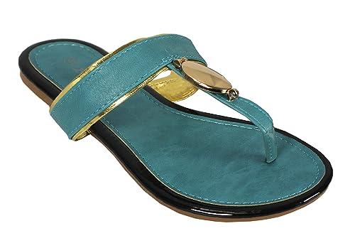42f0302b2 Peach Couture Boho Gold Oval Lined Flat Flip Flop Summer Beach Sandals Teal  5