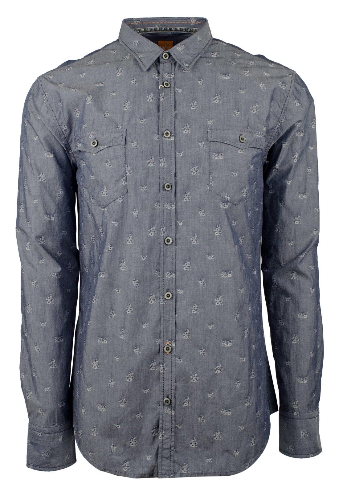 Hugo Boss Men's Orange Label EdoslimE Slim Fit Floral Button Down Shirt-B-XL