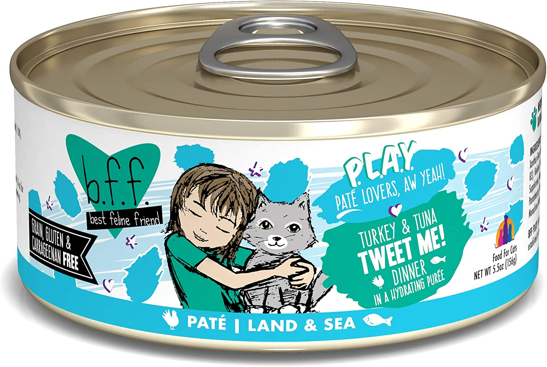 B.F.F. PLAY - Best Feline Friend Paté Lovers, Aw Yeah!, Turkey & Tuna Tweet Me! with Turkey & Tuna, 5.5oz Can (Pack of 8)