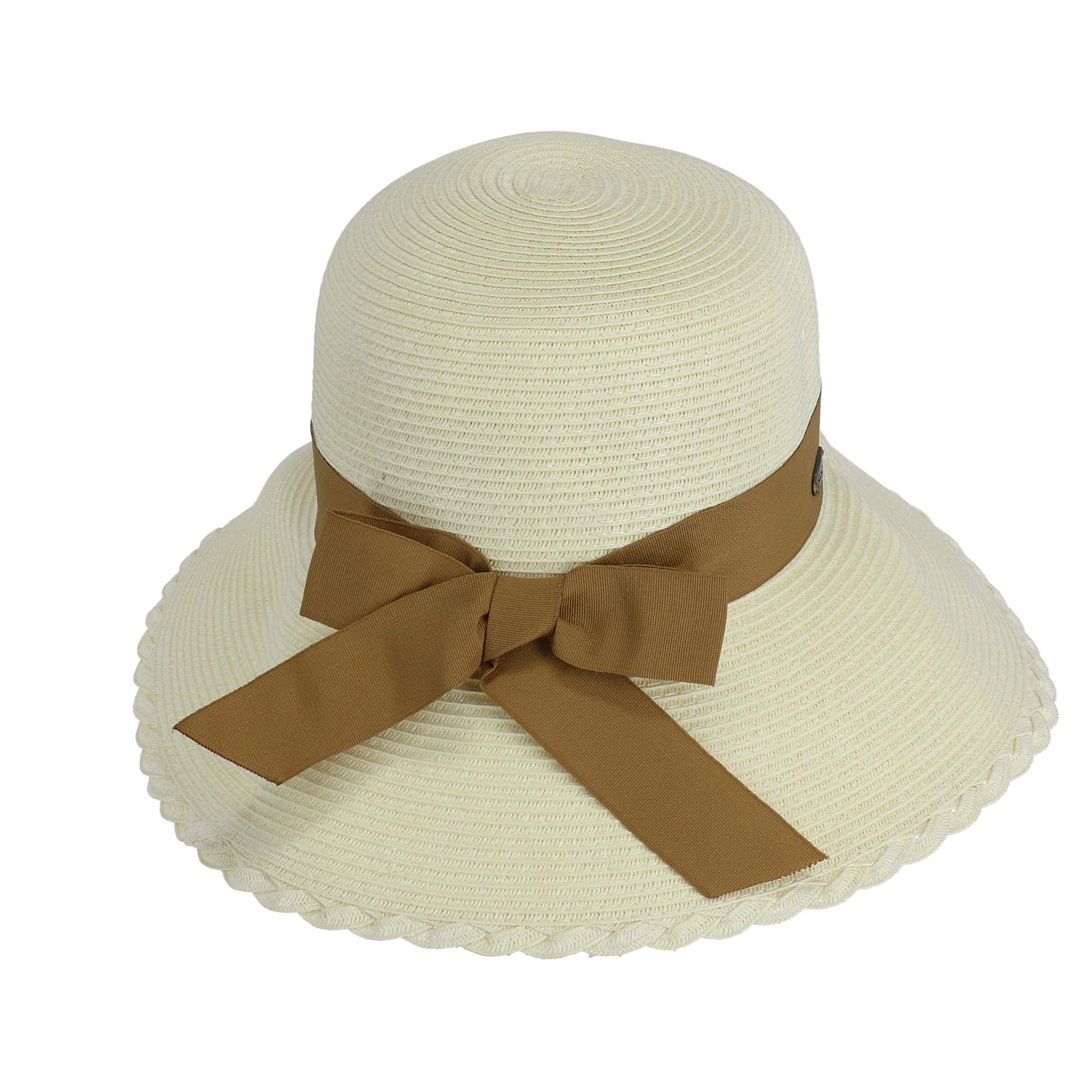 Sun N' Sand Straw Bow Bucket Hat One Size Ivory