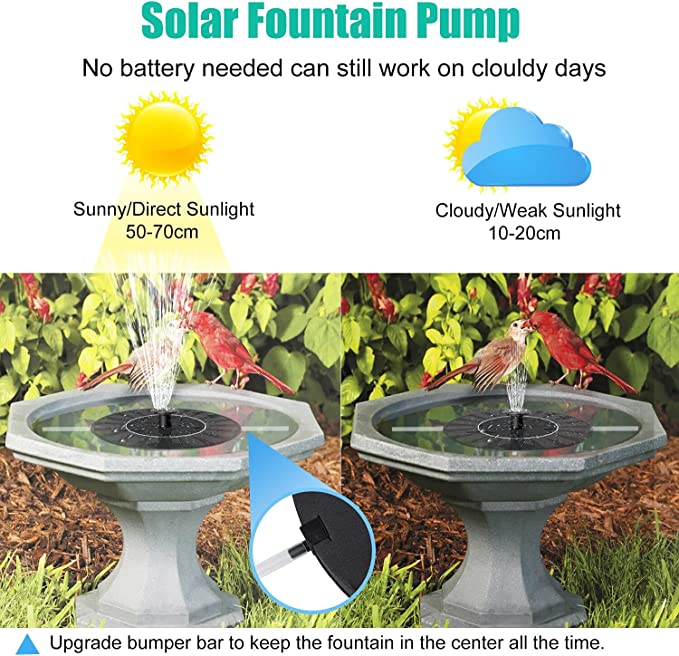 Details about  /Outdoor Solar Powered Floating Bird Bath Water Fountain Pump Kit Garden Pond