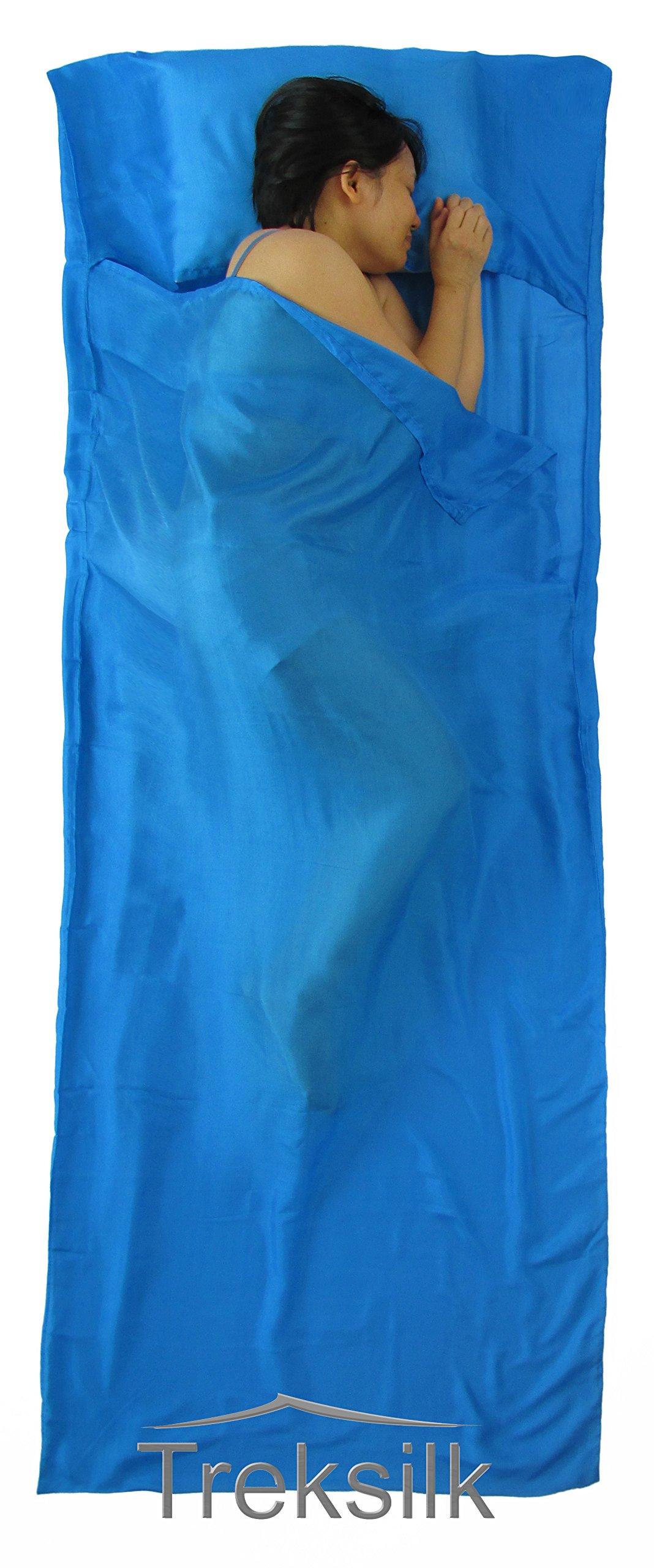 Treksilk: 240 cm! 100% Mulberry Silk Single Sleeping Bag Liner Travel Sheet Sack (Aqua Blue) by Treksilk