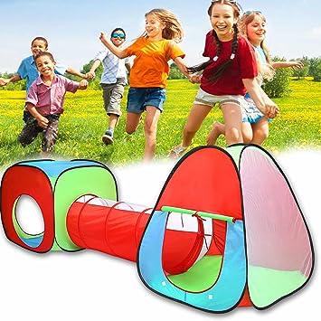 begorey 3 en 1 Tienda de Campaña para Niños Casa Túnel de Juego Jardín con bolsa de transporte: Amazon.es: Juguetes y juegos