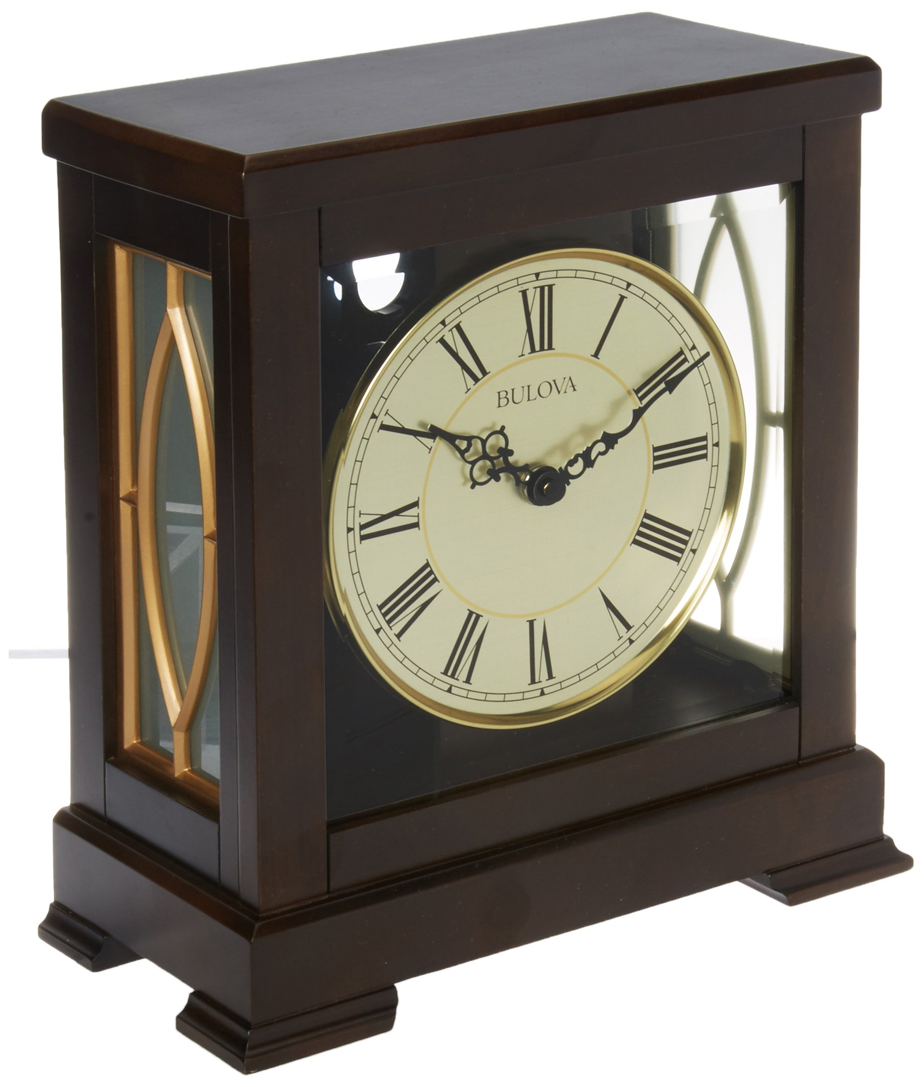 Bulova B1653 Victory Mantel Chime Clock, Brown by Bulova