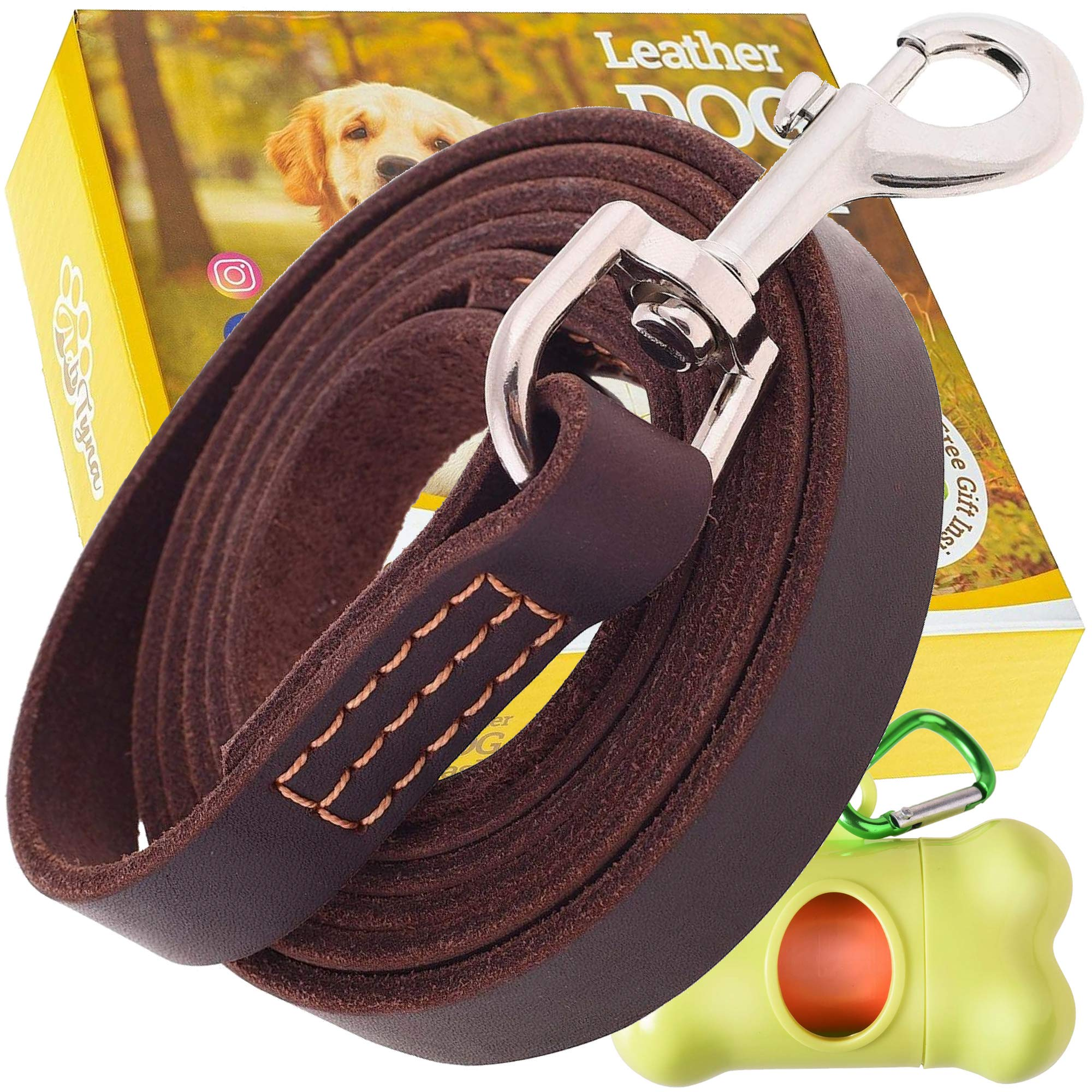 ADITYNA Leather Dog Leash 6 foot x 3/4 inch - Leather Leash for Large or Medium Dogs - Perfect for Walking and Training - Heavy Duty Dog Leash Leather (Brown)