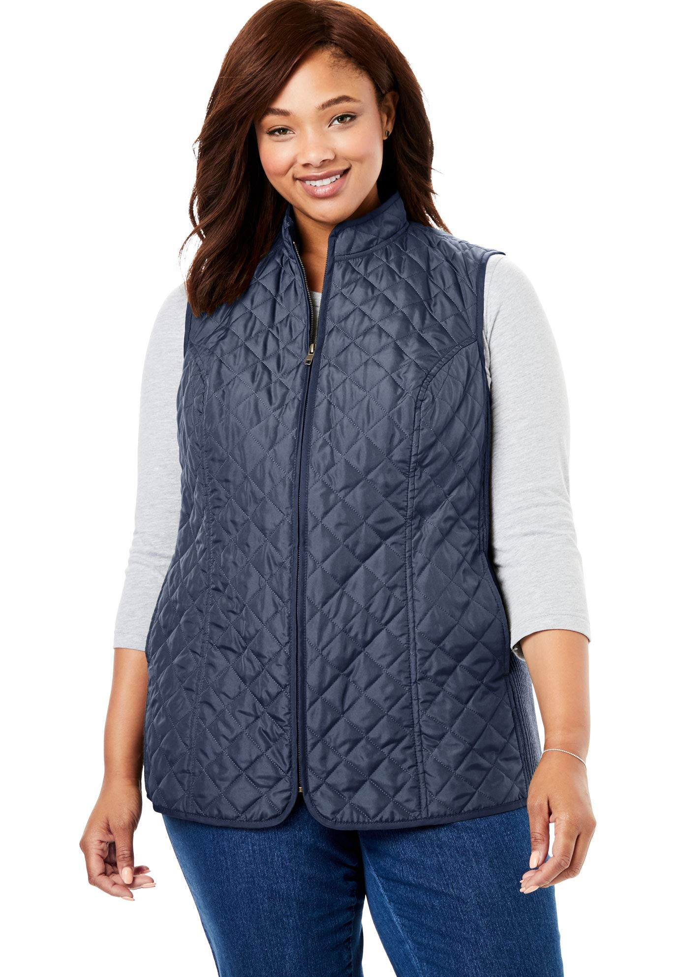 Woman Within Women's Plus Size Zip-Front Quilted Vest - Navy, M by Woman Within