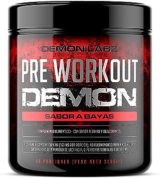 Pre Workout Demon (Sabor Frutas del Bosque) - Suplemento Potente pre-Entreno con Creatina, Cafeína, Beta-Alanina y Glutamina (Envase de 320 Gramos - ...