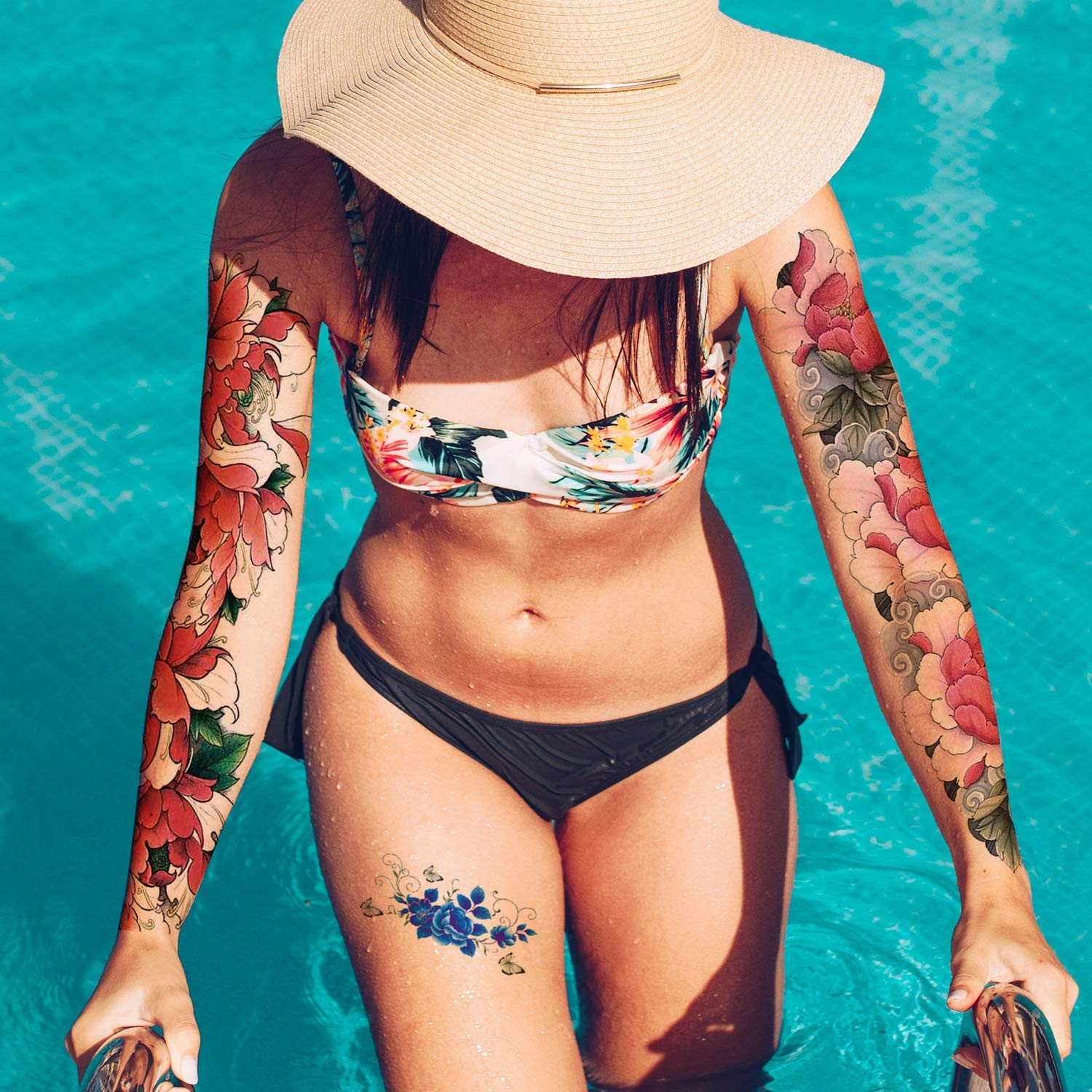 Full Sleeve Temporary Tattoos Flowers For Women Teens And Kids 16 Sheets Christmas Sleeve Tattoo For Women Long Lasting Waterproof Full Arm Fake