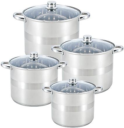 Royal Swiss batería de Cocina 8 Piezas Profundo en Acero Inoxidable ...