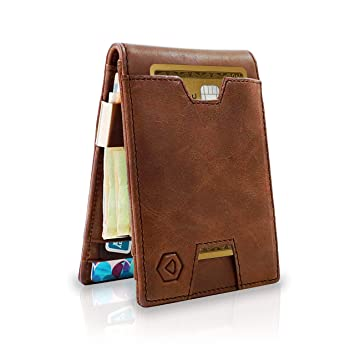 7f9ec91c0cec Amazon.com: RFID Blocking Slim Wallet for Men with Money Clip - Minimalist  Front Pocket Bifold Wallet for Men - Genuine Leather Mens Wallet with Gift  Box: ...