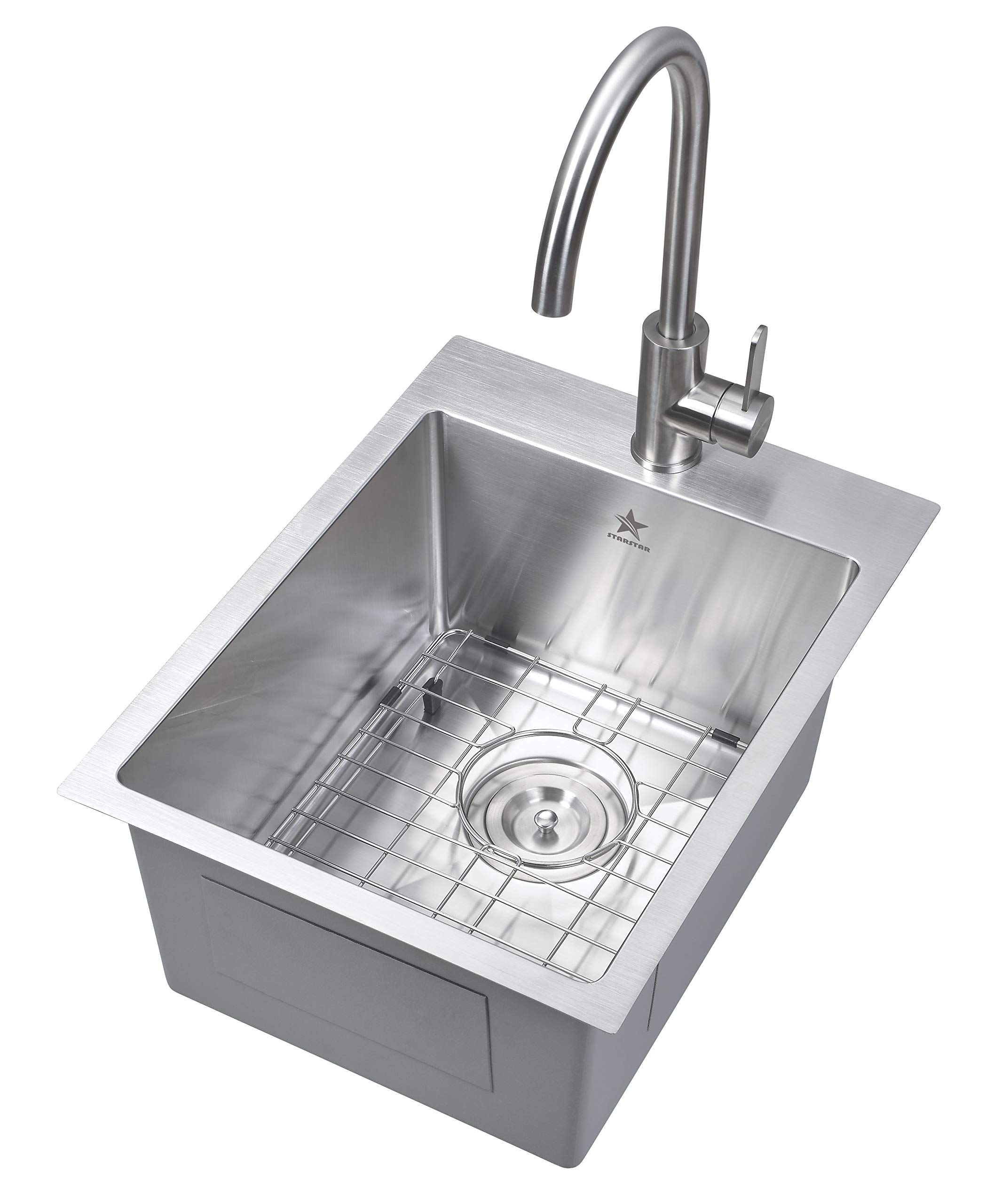 Starstar 15 x 20 inch Drop-in Topmount 304 Stainless Steel Single Bowl Bar/Kitchen/Laundry/Yard/Office Sink (With Grid)