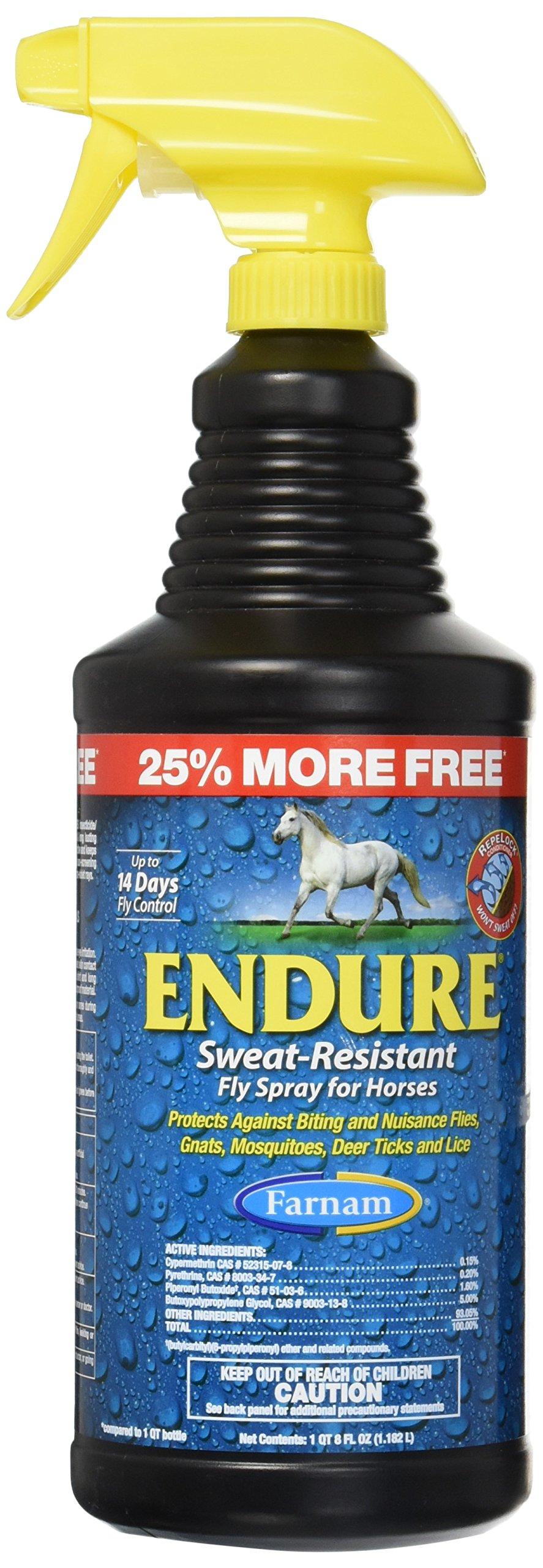 Farnam Companies 100502139 554161 Endure Sweat Resistant Fly Spray for Horses Bonus, 40 oz