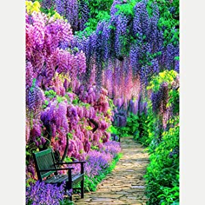 Bimkole 5D Diamond Painting Kits Garden Landscape, Full Drill Art Flower Tree Chair DIY Rhinestone Embroidery Set Paint with by Number Kits Cross Stitch Home Wall Craft Decoration (12x16inch)